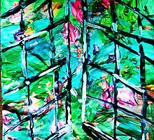 NEW DAY BEHIND OLD WINDOWS - acrylic, paper 22 x 28'' by irishrainbeau