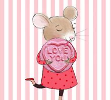 SWEET LOVE HEART MOUSE by Jane Newland