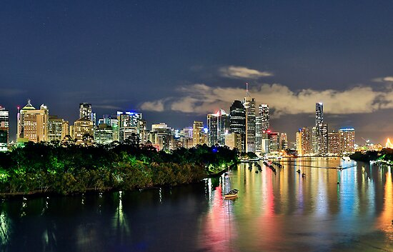 Blue Hour Brisbane River by Peter Doré