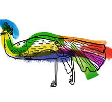 decorative peacock like a child's drawing by OlgaBerlet
