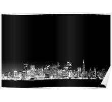 SF Skyline Black & White Poster