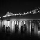 SF Bay Bridge Illuminated BW by Jenn Ramirez