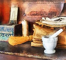 Mortar and Pestle and Box of Cocoa by Susan Savad