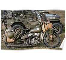 Harley-Davidson WLA Army Motorcycle Poster