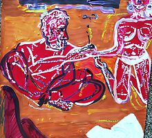 LOVE STRINGS - acrylic, tempera, paper 18 x 24'' by irishrainbeau