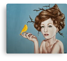 Girl with Nest Hair and Canary Canvas Print