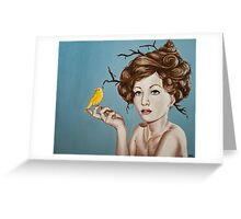 Girl with Nest Hair and Canary Greeting Card