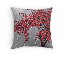 Red and black tree with silver background -zen blossom design Throw Pillow