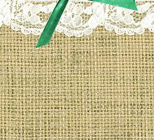 girly burlap and lace with mint green bow by hellohappy