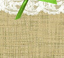 girly burlap and lace with chartreuse green bow by hellohappy
