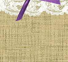 girly burlap and lace with purple bow by hellohappy