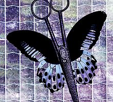 hair stylist scissors shears butterfly grunge purple by hellohappy