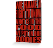 Our Bodies Our Food - Monsanto Greeting Card