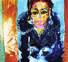 SELF PORTRAIT IN A FUR COAT - acrylic, tempera, paper 18 x 24'' by irishrainbeau