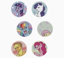 Sticker Badges - My Little Pony Mane Six by TipsyKipsy