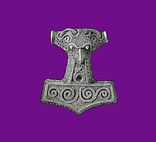 Thor's Hammer on Purple Iphone Case by Huginnandmuninn