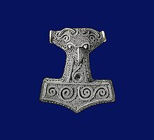 Thor's Hammer on Blue Iphone Case by Huginnandmuninn