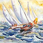 Fight At The Mark - Folkboats Tacking by Barbara Pommerenke