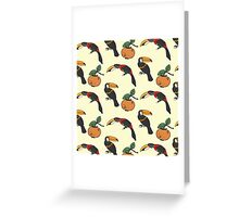 Two toucan and persimmon ornament Greeting Card