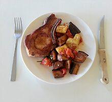 Pork Chop Eggplant And Squash by Michael Redbourn