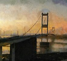 Old Severn Crossing sunset, toward Wales by buttonpresser