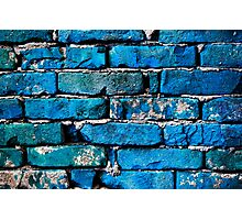 Blue Brick Wall Photographic Print