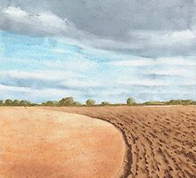 Ploughed Field, Shropshire - watercolour by Gee Massam