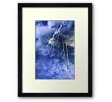 lightening from a cloudy stormy sky Framed Print