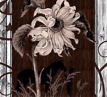 Whitewashed Western Sunflower & Cowgirl by Doreen Erhardt