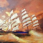 A digital painting of Cutty Sark in Heavy Seas by Dennis Melling