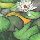 Water lily at Bodnant Gardens - Aquamarkers. by Gee Massam