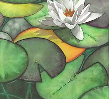 Water lily flower - Aquamarker by Gee Massam