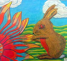 383 - FLOWER-LOVING BUNNY - DAVE EDWARDS - COLOURED PENCILS - 2013 by BLYTHART