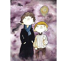 Sherlock and John and a yellow smile balloon Photographic Print