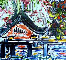 JAPANESE GARDEN - acrylic, oil, canvas 18 x 24'' by irishrainbeau