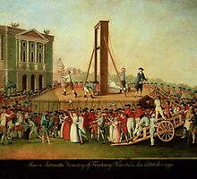 The Execution of Marie-Antoinette (1755-93) 16th Oct 1793 (oil on copper)  by Bridgeman Art Library