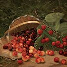 Fruit Still Life - Basket of Cherries - Vintage Painting of Cherries - Fruit Images by traciv