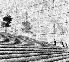 Fingerprint - Stairway - Black ink by nicolasjolly