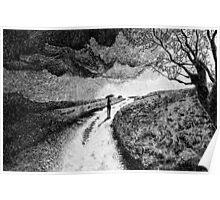 Fingerprint - Rain - Black ink Poster