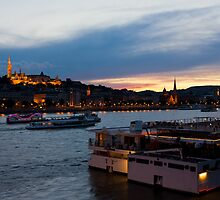 Colorful Sunset In Budapest With A Panoramic View Of The River Danube And The Fishermans Bastion. by kirilart