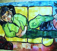 PORTRAIT OF ROSE DESANTIS - ALWAYS ON A COUCH - acrylic, tempera, paper 36 x 48''  by irishrainbeau