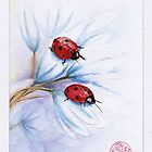 """companions""  ladybugs mixed media painting - watercolor, ink, colored pencil by Rebecca Rees"