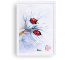 """companions""  ladybugs mixed media painting - watercolor, ink, colored pencil Canvas Print"