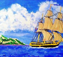 A digital painting of HMS Boreas Leaving Gibraltar by Dennis Melling