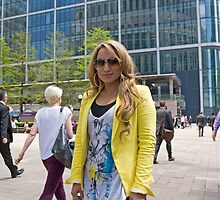 Uzma Yakoob star from the Apprentice TV programme by Canary Wharf by Keith Larby