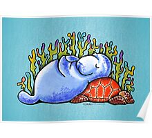 Sea Turtle and Manatee Poster