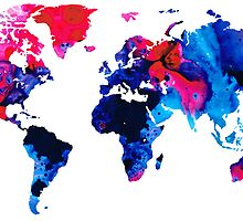 Map of The World 9 -Colorful Abstract Art by Sharon Cummings
