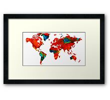 World Map 12 - Colorful Red Map by Sharon Cummings Framed Print