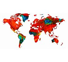 World Map 12 - Colorful Red Map by Sharon Cummings Photographic Print