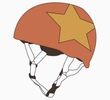 Roller Derby Jammer Helmet in Orange by Katie Tandlmayer